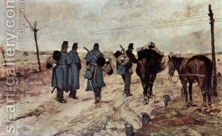 Marschierende soldiers by Giovanni Fattori - Reproduction Oil Painting