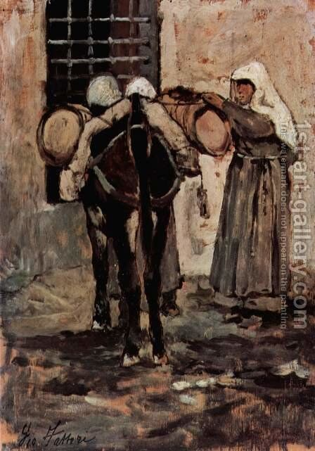 Nun with donkey by Giovanni Fattori - Reproduction Oil Painting