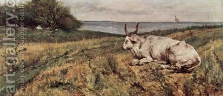 Reclining Cow by Giovanni Fattori - Reproduction Oil Painting