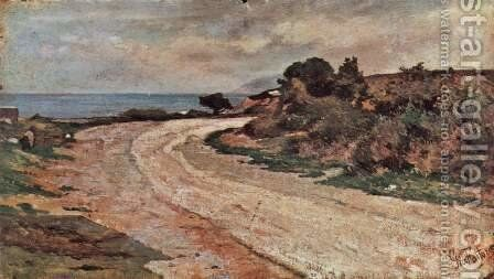 Street on the shores of the sea by Giovanni Fattori - Reproduction Oil Painting