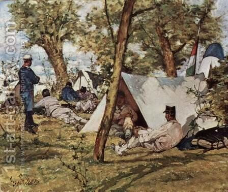 The field camp by Giovanni Fattori - Reproduction Oil Painting
