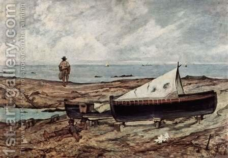The gray day (beach with fishermen and boats) by Giovanni Fattori - Reproduction Oil Painting
