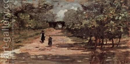 The tree with two children by Giovanni Fattori - Reproduction Oil Painting