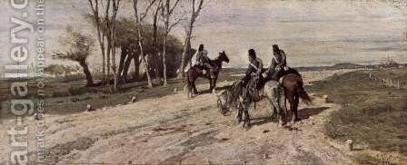 Three cavalrymen on a street by Giovanni Fattori - Reproduction Oil Painting