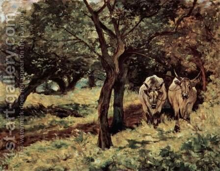 Two oxen in the olive grove by Giovanni Fattori - Reproduction Oil Painting