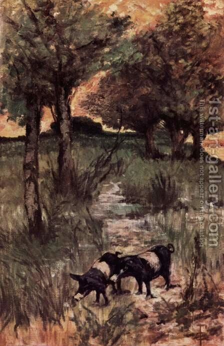 Two pigs on pasture by Giovanni Fattori - Reproduction Oil Painting