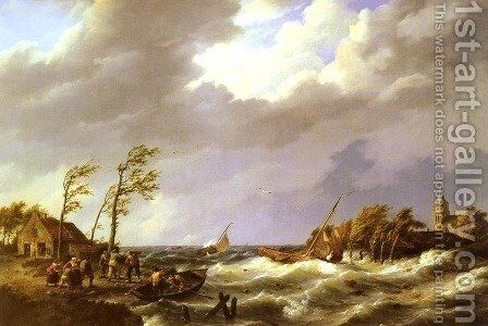 Dutch Fishing Vessel caught on a Lee Shore with Villagers and a Rescue Boat in the foreground by Hermanus Jr. Koekkoek - Reproduction Oil Painting