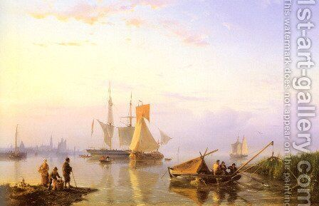 Shipping in a Calm, Amsterdam by Hermanus Jr. Koekkoek - Reproduction Oil Painting