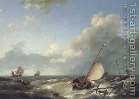 Shipping in a stiff breeze by Hermanus Jr. Koekkoek - Reproduction Oil Painting