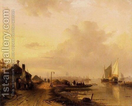 The Ferry 1 by Charles Henri Joseph Leickert - Reproduction Oil Painting