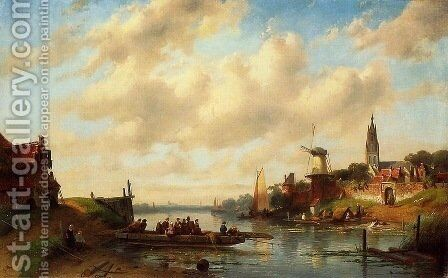 The Ferry 2 by Charles Henri Joseph Leickert - Reproduction Oil Painting
