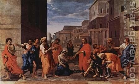 Christ and the adulteress by Nicolas Poussin - Reproduction Oil Painting