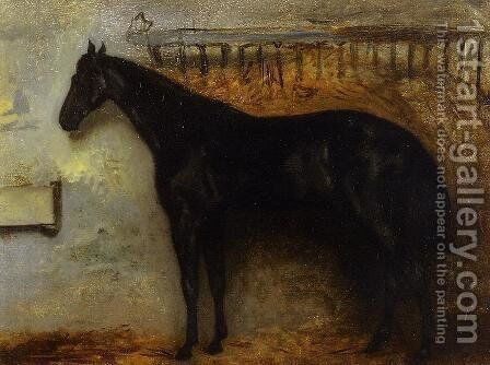 Black Horse in a Stable by Theodore Gericault - Reproduction Oil Painting
