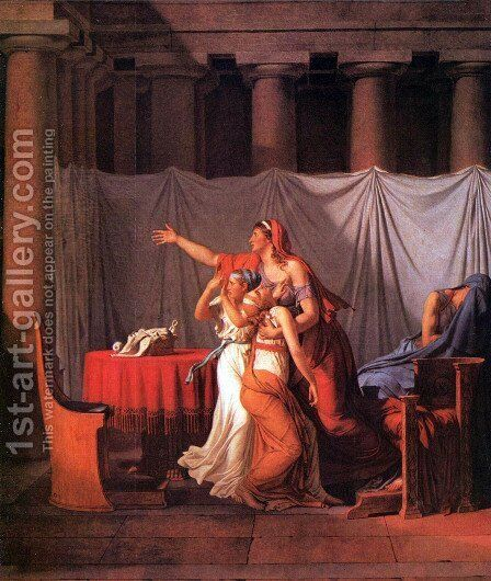 The Lictors Bring to Brutus the Bodies of His Sons (detail) by Jacques Louis David - Reproduction Oil Painting