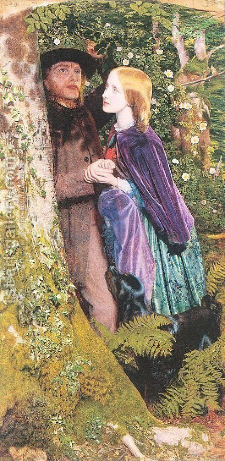 The Long Engagement (detail) by Arthur Hughes - Reproduction Oil Painting
