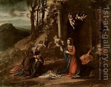 Christ's birth, with St. Elizabeth and John the Baptist, and sleeping Josef by Correggio (Antonio Allegri) - Reproduction Oil Painting