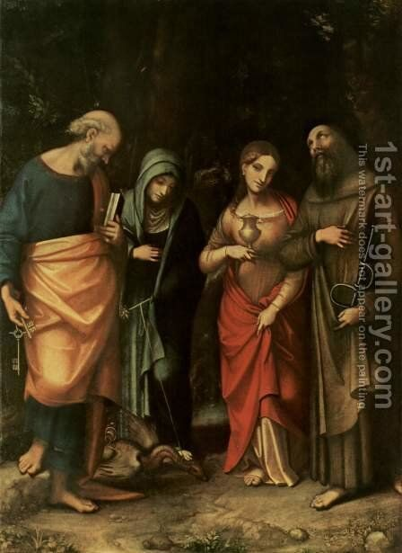 Four Saints, from left, St. Peter, St. Martha, St. Mary Magdalene, St. Leonard by Correggio (Antonio Allegri) - Reproduction Oil Painting