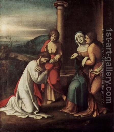 Goodbye Christ of Mary, with Mary and Martha, the sister of Lazarus by Correggio (Antonio Allegri) - Reproduction Oil Painting