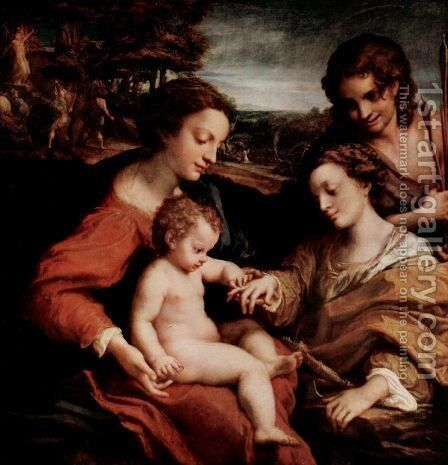 Mystical Marriage of St. Catherine of Alexandria with Christ by Correggio (Antonio Allegri) - Reproduction Oil Painting