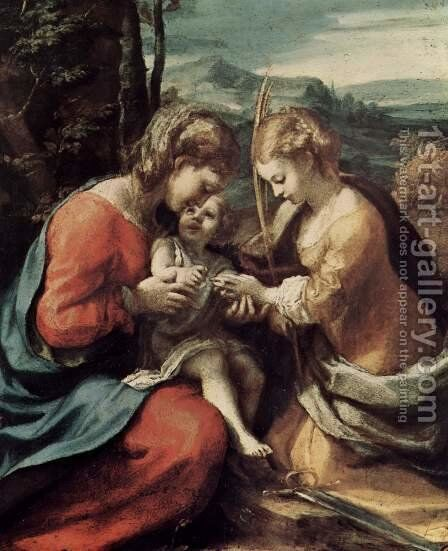 The Mystical Marriage of St. Catherine of Alexandria by Correggio (Antonio Allegri) - Reproduction Oil Painting