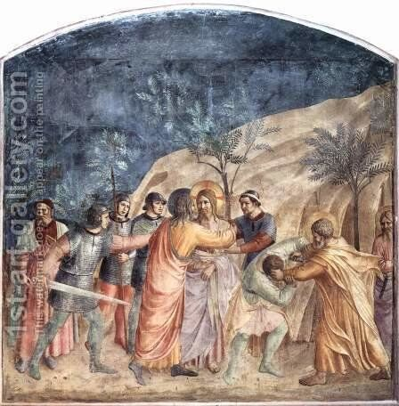 Capture of Christ, Judas Kiss and Peter, the servant Malchus an ear off by Angelico Fra - Reproduction Oil Painting