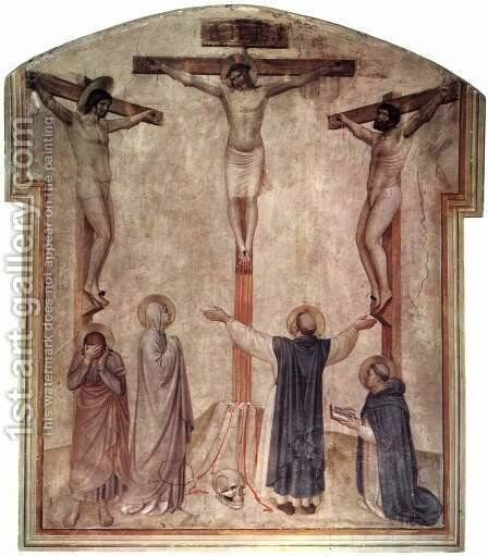Christ's crucifixion and two Schächer by Angelico Fra - Reproduction Oil Painting