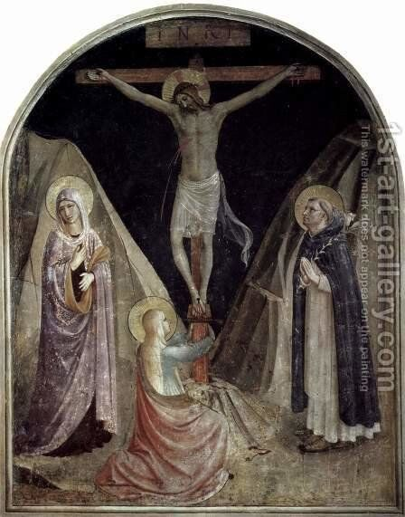 Crucifixion with Mary and St. Dominic and Maria Magdalena by Angelico Fra - Reproduction Oil Painting