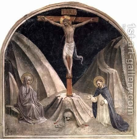 Crucifixion with Mary and St. Dominic, Golgathaberg and skull Adams by Angelico Fra - Reproduction Oil Painting
