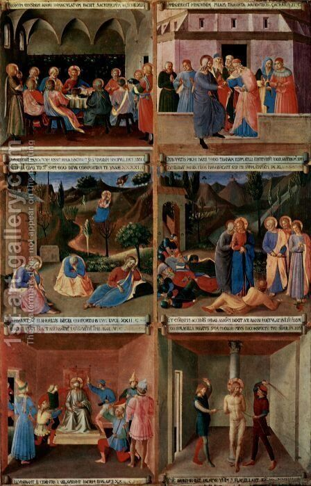 Paintings for the Armadio degli Argenti (detail lower center by Angelico Fra - Reproduction Oil Painting