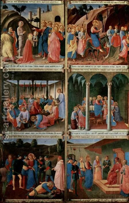 Picture cycle scenes from the life of Christ for a cabinet for storage of silver tableware, scene sequence by Angelico Fra - Reproduction Oil Painting