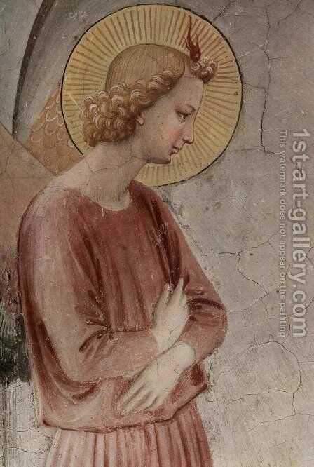 Preaching with St. Dominic; detail Annunciation angel by Angelico Fra - Reproduction Oil Painting