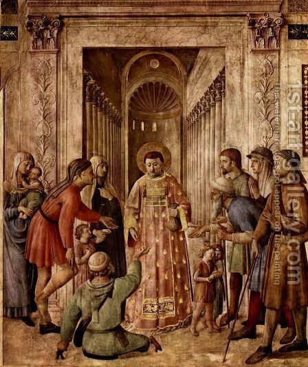 St Lawrence Distributes Food to the Poor by Angelico Fra - Reproduction Oil Painting