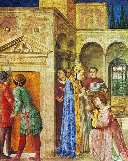 St. Lawrence receives from Sixtus II treasures of the church by Angelico Fra - Reproduction Oil Painting