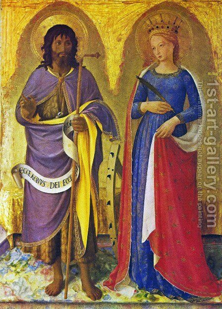 Triptych of Perugia. The Saints John the Baptist and Catherine of Alexandria by Angelico Fra - Reproduction Oil Painting