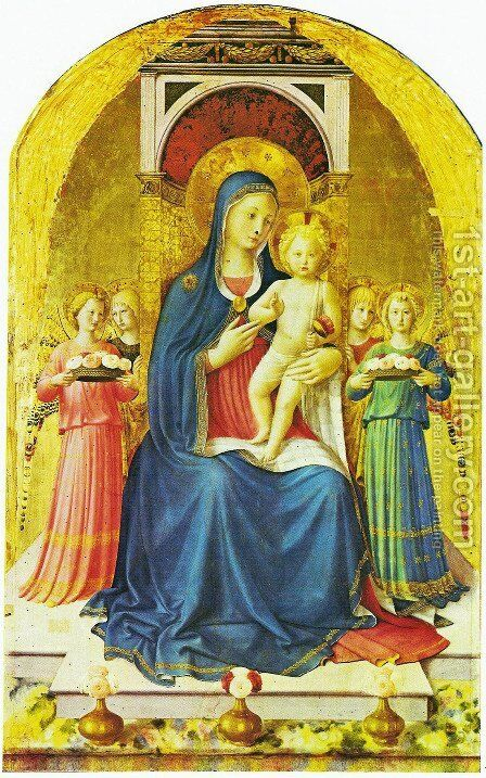 Triptych of Perugia. Virgin with child, angels and saints 2 by Angelico Fra - Reproduction Oil Painting