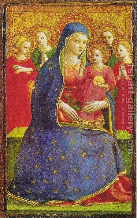 Virgin with the child and four angels by Angelico Fra - Reproduction Oil Painting