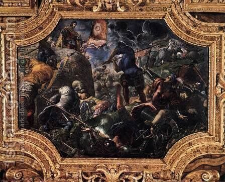 Defence of Brescia by Jacopo Tintoretto (Robusti) - Reproduction Oil Painting