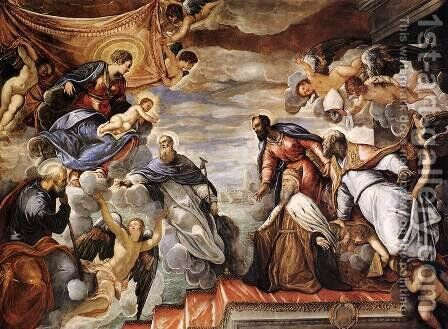 Doge Nicolò da Ponte Invoking the Protection of the Virgin by Jacopo Tintoretto (Robusti) - Reproduction Oil Painting
