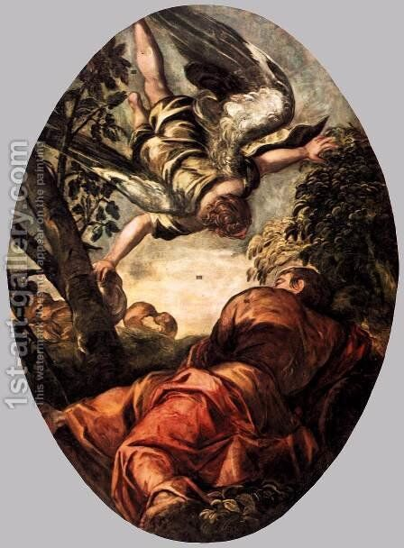 Elijah Fed by the Angel by Jacopo Tintoretto (Robusti) - Reproduction Oil Painting