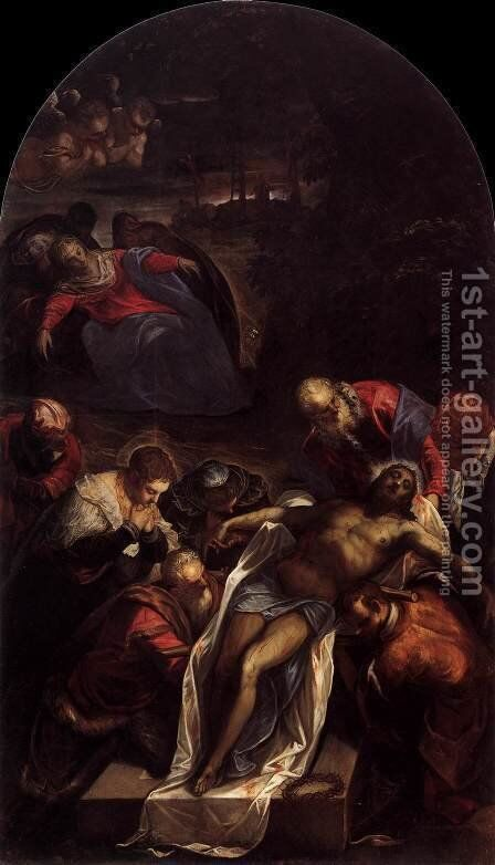 Entombment by Jacopo Tintoretto (Robusti) - Reproduction Oil Painting