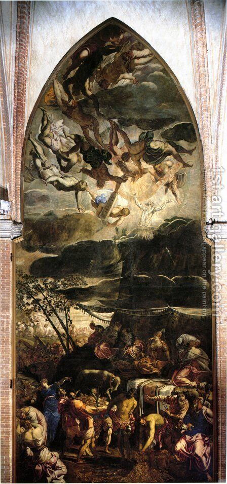 Moses Receiving the Tables of the Law by Jacopo Tintoretto (Robusti) - Reproduction Oil Painting