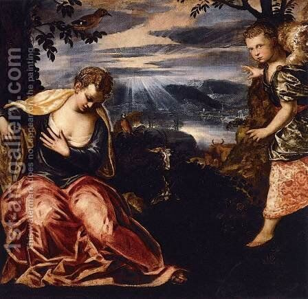 The Annunciation to Manoah's Wife by Jacopo Tintoretto (Robusti) - Reproduction Oil Painting