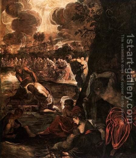 The Baptism of Christ 3 by Jacopo Tintoretto (Robusti) - Reproduction Oil Painting