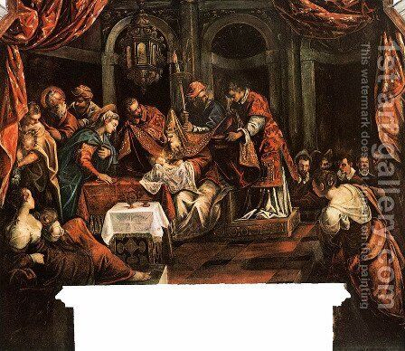 The Circumcision by Jacopo Tintoretto (Robusti) - Reproduction Oil Painting
