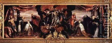 The Dead Christ Adored by Doges Pietro Lando and Marcantonio Trevisan by Jacopo Tintoretto (Robusti) - Reproduction Oil Painting