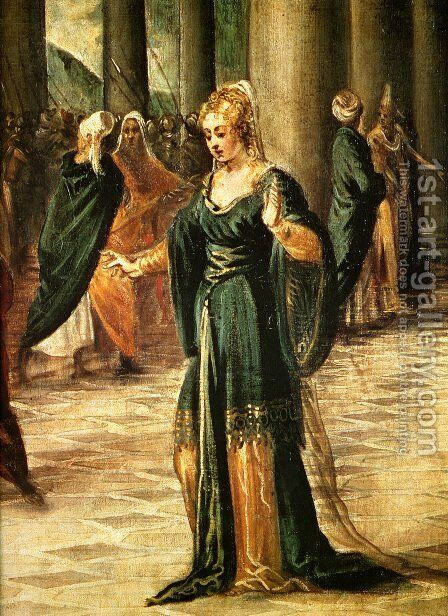 Christ and the Woman Taken in Adultery (detail) by Jacopo Tintoretto (Robusti) - Reproduction Oil Painting