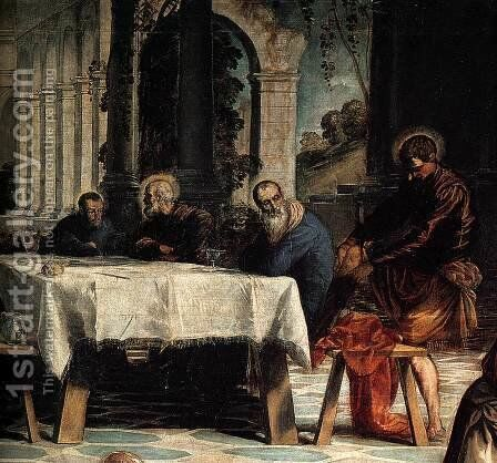 Christ Washing His Disciples' Feet (detail 2) by Jacopo Tintoretto (Robusti) - Reproduction Oil Painting