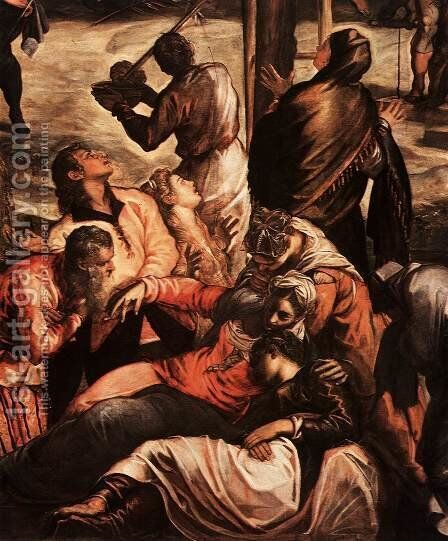Crucifixion (detail 3) by Jacopo Tintoretto (Robusti) - Reproduction Oil Painting