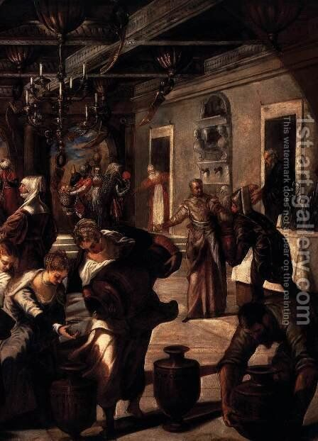Marriage at Cana (detail) by Jacopo Tintoretto (Robusti) - Reproduction Oil Painting