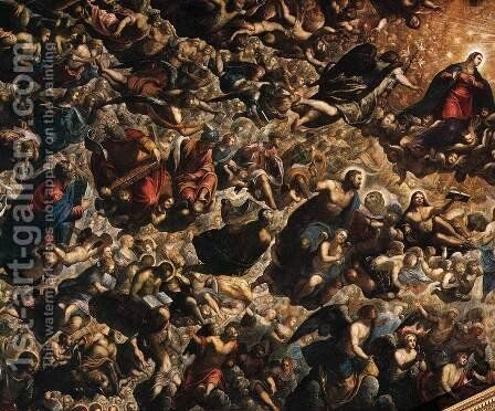 Paradise (detail 1) by Jacopo Tintoretto (Robusti) - Reproduction Oil Painting